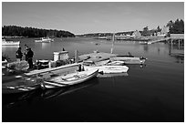 Small boats, harbor and village. Isle Au Haut, Maine, USA (black and white)