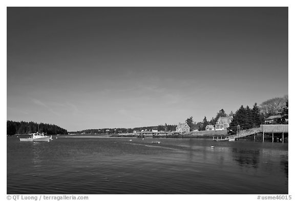 Isle-au-Haut harbor. Isle Au Haut, Maine, USA (black and white)