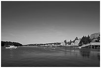 Isle-au-Haut harbor. Isle Au Haut, Maine, USA ( black and white)