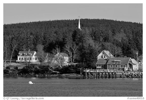General store and church steeple. Isle Au Haut, Maine, USA (black and white)