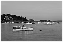 Traditional Maine lobstering boats. Stonington, Maine, USA (black and white)
