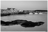 Harbor, late afternoon. Stonington, Maine, USA ( black and white)