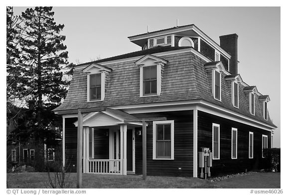 Historic house in federal style. Stonington, Maine, USA (black and white)