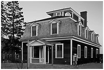 Historic house in federal style. Stonington, Maine, USA ( black and white)