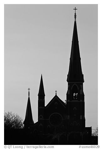 Cathedral spires backlit at dawn. Portland, Maine, USA (black and white)