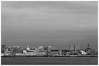 Skyline at sunrise. Portland, Maine, USA ( black and white)