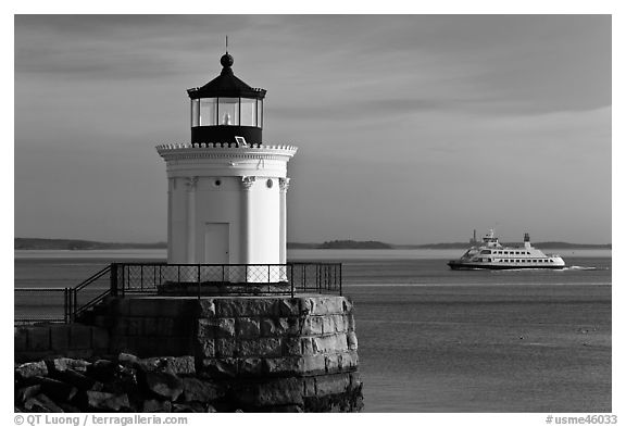 Bug Light and ferry. Portland, Maine, USA (black and white)