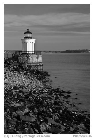 Bug Light lighthouse at the harbor entrance. Portland, Maine, USA (black and white)