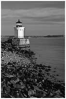Bug Light lighthouse at the harbor entrance. Portland, Maine, USA ( black and white)