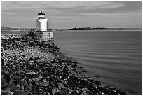 Bug Light and breakwater. Portland, Maine, USA ( black and white)