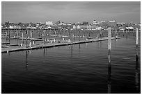 Harbor decks and Portland skyline. Portland, Maine, USA ( black and white)