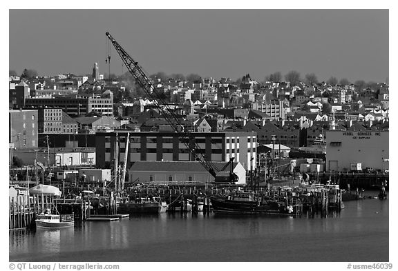 Portland waterfront. Portland, Maine, USA (black and white)