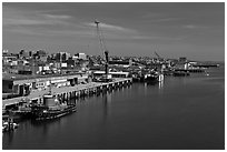 Shipping harbor with tugboats and crane. Portland, Maine, USA (black and white)