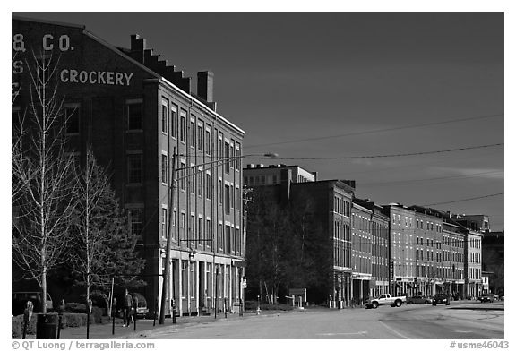 Historic brick buildings near waterfront. Portland, Maine, USA (black and white)