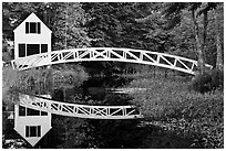 White wooden house and bridge, Somesville. Maine, USA (black and white)