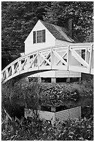 House and arched bridge. Maine, USA (black and white)