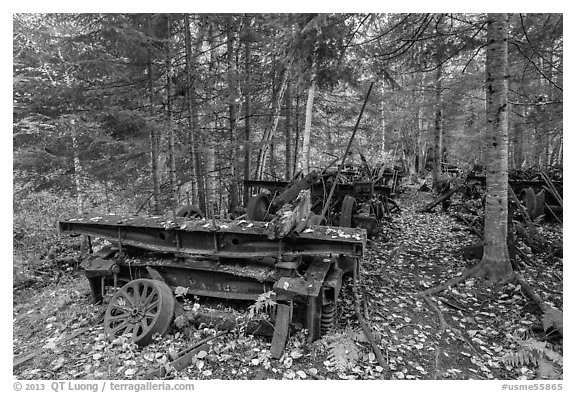 Rusting railway equipment in the woods. Allagash Wilderness Waterway, Maine, USA (black and white)