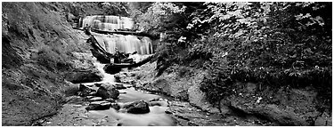 Waterfall in autumn. Upper Michigan Peninsula, USA (Panoramic black and white)