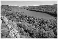 Lake of the Clouds with early fall colors, Porcupine Mountains State Park. Upper Michigan Peninsula, USA ( black and white)