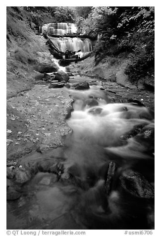 Sable Falls in autumn, Pictured Rocks National Lakeshore. Upper Michigan Peninsula, USA (black and white)