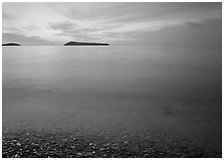 Islands in Lake Superior at dawn. Minnesota, USA (black and white)