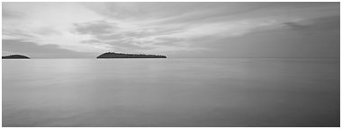 Dawn lakescape, Lake Superior. Minnesota, USA (Panoramic black and white)