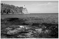 Split Rock lighthouse State Park, afternoon. Minnesota, USA ( black and white)