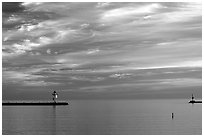 Harbor on Lake Superior at Sunset. Minnesota, USA (black and white)