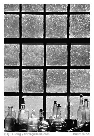 Window in the Kitchen building, Grand Portage National Monument. Minnesota, USA (black and white)