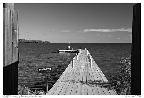 Pier on Lake Superior, Grand Portage National Monument. Minnesota, USA (black and white)