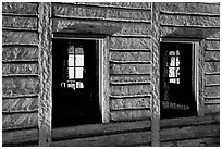 Windows in Great Hall, Grand Portage National Monument. Minnesota, USA (black and white)