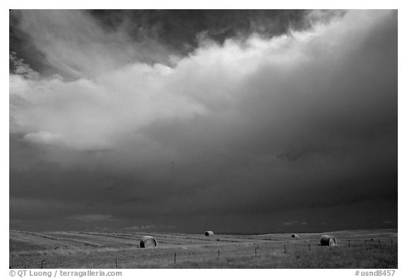 Hay rolls under a storm cloud. North Dakota, USA (black and white)