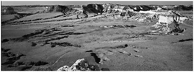 Valley and cliffs,  Scotts Bluff National Monument. Nebraska, USA (Panoramic black and white)
