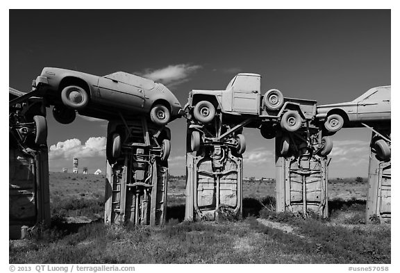 Arches formed by welded cars, Carhenge. Alliance, Nebraska, USA (black and white)