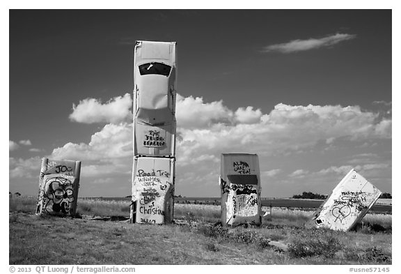 Car Art Reserve, Carhenge. Alliance, Nebraska, USA (black and white)