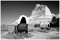 Old wagons and bluff. Scotts Bluff National Monument. Nebraska, USA ( black and white)