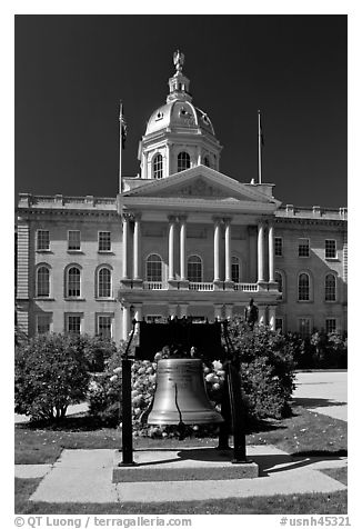 Bell and New Hampshire state capitol. Concord, New Hampshire, USA (black and white)