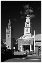 White steepled church and stone church. Concord, New Hampshire, USA ( black and white)