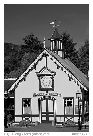 Historic railroad station. New Hampshire, USA (black and white)