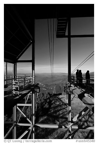 Cannon Mountain aerial tramway station, White Mountain National Forest. New Hampshire, USA (black and white)