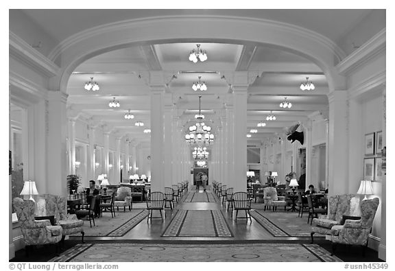 Lobby at nigth, Omni Mount Washington hotel, Bretton Woods. New Hampshire, USA (black and white)