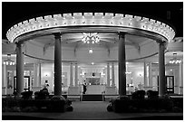 Entrance at night, Mount Washington resort, Bretton Woods. New Hampshire, USA ( black and white)