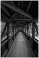 Inside Sentinel Pine covered bridge, Franconia Notch State Park. New Hampshire, USA (black and white)