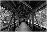 Covered bridge seen from inside, Franconia Notch State Park. New Hampshire, USA (black and white)