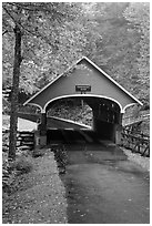 Pemigewasset River covered bridge, Franconia Notch State Park. New Hampshire, USA (black and white)