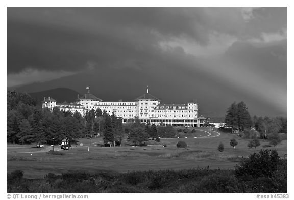 Mount Washington hotel and rainbow, Bretton Woods. New Hampshire, USA