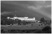 Mount Washington hotel and rainbow, Bretton Woods. New Hampshire, USA (black and white)