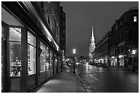 Congress Street and church by night. Portsmouth, New Hampshire, USA ( black and white)