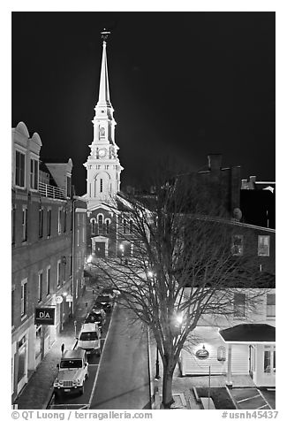 Street from above and church at night. Portsmouth, New Hampshire, USA (black and white)