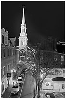 Street from above and church at night. Portsmouth, New Hampshire, USA ( black and white)